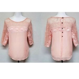 Gimmicks by BKE Coral Floral Lace Contrast Blouse